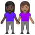 👩🏿‍🤝‍👩🏽 women holding hands: dark skin tone, medium skin tone Emoji on Google Platform