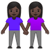 👭🏿 women holding hands: dark skin tone Emoji on Google Platform