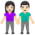 👫🏻 woman and man holding hands: light skin tone Emoji on Google Platform