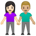 👩🏻‍🤝‍👨🏼 woman and man holding hands: light skin tone, medium-light skin tone Emoji on Google Platform