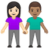 👩🏻‍🤝‍👨🏽 woman and man holding hands: light skin tone, medium skin tone Emoji on Google Platform