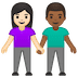 👩🏻‍🤝‍👨🏾 woman and man holding hands: light skin tone, medium-dark skin tone Emoji on Google Platform
