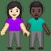 👩🏻🤝👨🏿 Light Skin Tone Woman And Dark Skin Tone Man Holding Hands Emoji on Google Platform