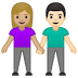 👩🏼‍🤝‍👨🏻 woman and man holding hands: medium-light skin tone, light skin tone Emoji on Google Platform