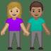 👩🏼🤝👨🏽 Medium Light Skin Tone Woman And Medium Skin Tone Man Holding Hands Emoji on Google Platform