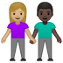 👩🏼‍🤝‍👨🏿 woman and man holding hands: medium-light skin tone, dark skin tone Emoji on Google Platform