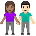 👩🏽‍🤝‍👨🏻 woman and man holding hands: medium skin tone, light skin tone Emoji on Google Platform