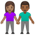 👩🏽‍🤝‍👨🏾 woman and man holding hands: medium skin tone, medium-dark skin tone Emoji on Google Platform