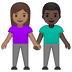 👩🏽‍🤝‍👨🏿 woman and man holding hands: medium skin tone, dark skin tone Emoji on Google Platform