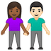 👩🏾🤝👨🏻 woman and man holding hands: medium-dark skin tone, light skin tone Emoji on Google Platform