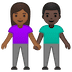👩🏾‍🤝‍👨🏿 woman and man holding hands: medium-dark skin tone, dark skin tone Emoji on Google Platform