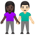 👩🏿‍🤝‍👨🏻 woman and man holding hands: dark skin tone, light skin tone Emoji on Google Platform