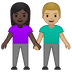 👩🏿‍🤝‍👨🏼 woman and man holding hands: dark skin tone, medium-light skin tone Emoji on Google Platform