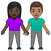 👩🏿‍🤝‍👨🏽 woman and man holding hands: dark skin tone, medium skin tone Emoji on Google Platform