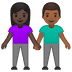 👩🏿🤝👨🏾 Dark Skin Tone Woman And Medium Dark Skin Tone Man Holding Hands Emoji on Google Platform