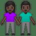 👫🏿 Dark Skin Tone Woman and Man Holding Hands Emoji on Google Platform