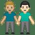 👨🏼🤝👨🏻 men holding hands: medium-light skin tone, light skin tone Emoji on Google Platform