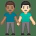 👨🏽🤝👨🏻 Medium Skin Tone And Light Skin Tone Men Holding Hands Emoji on Google Platform