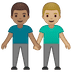 👨🏽‍🤝‍👨🏼 men holding hands: medium skin tone, medium-light skin tone Emoji on Google Platform