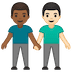 👨🏾‍🤝‍👨🏻 men holding hands: medium-dark skin tone, light skin tone Emoji on Google Platform