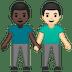 👨🏿🤝👨🏻 men holding hands: dark skin tone, light skin tone Emoji on Google Platform