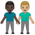 👨🏿‍🤝‍👨🏼 men holding hands: dark skin tone, medium-light skin tone Emoji on Google Platform