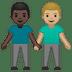👨🏿🤝👨🏼 men holding hands: dark skin tone, medium-light skin tone Emoji on Google Platform