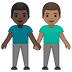 👨🏿‍🤝‍👨🏽 men holding hands: dark skin tone, medium skin tone Emoji on Google Platform