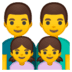 👨‍👨‍👧‍👧 family: man, man, girl, girl Emoji on Google Platform
