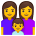 👩‍👩‍👦 Family With Woman, Woman And Boy Emoji on Google Platform