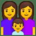 👩👩👦 family: woman, woman, boy Emoji on Google Platform