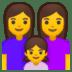 👩👩👧 family: woman, woman, girl Emoji on Google Platform