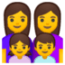 👩‍👩‍👧‍👦 family: woman, woman, girl, boy Emoji on Google Platform