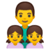 👨👧👧 family: man, girl, girl Emoji on Google Platform