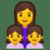 👩👧👧 family: woman, girl, girl Emoji on Google Platform