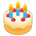 🎂 बर्थडे केक गूगल प्लेटफ़ॉर्म पर इमोजी