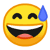 😅 grinning face with sweat Emoji on Google Platform