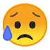 😥 sad but relieved face Emoji on Google Platform