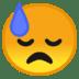 😓 downcast face with sweat Emoji on Google Platform