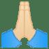 🙏🏻 folded hands: light skin tone Emoji on Google Platform