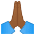 🙏🏾 folded hands: medium-dark skin tone Emoji on Google Platform