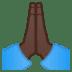 🙏🏿 folded hands: dark skin tone Emoji on Google Platform