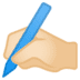 ✍🏻 writing hand: light skin tone Emoji on Google Platform
