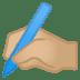 ✍🏼 writing hand: medium-light skin tone Emoji on Google Platform