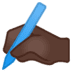 ✍🏿 writing hand: dark skin tone Emoji on Google Platform