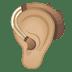 🦻🏼 ear with hearing aid: medium-light skin tone Emoji on Google Platform