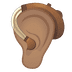 🦻🏽 ear with hearing aid: medium skin tone Emoji on Google Platform