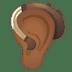 🦻🏾 ear with hearing aid: medium-dark skin tone Emoji on Google Platform