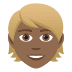 👱🏾 person: medium-dark skin tone, blond hair Emoji on Joypixels Platform