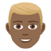 👱🏾‍♂️ man: medium-dark skin tone, blond hair Emoji on Joypixels Platform